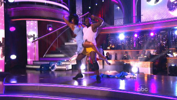 Emmitt Smith and Cheryl Burke appear in a photo from their group Freestyle group dance on October 23, 2012.  The group received 27 out of 30 points from the judges for their Freestyle dance. <span class=meta>(ABC Photo)</span>