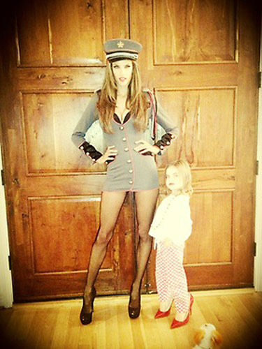 Alessandra Ambrosia and her daughter Anja appear in a photo posted on the model's official Twitter page on October 26, 2012.