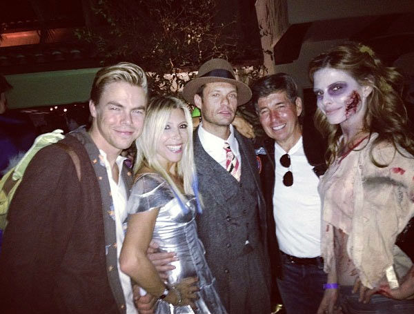 "<div class=""meta ""><span class=""caption-text "">Derek Hough, Ryan Seacrest, Maria Menounos and friends appear in a photo  posted on Menounos' official Instagram page on October 26, 2012. (instagram.com/p/RR_VgGMwXE)</span></div>"