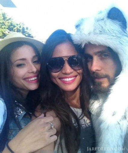 Jared Leto appears with friends in a photo posted on his official Twitter page on October 26, 2012. The actor and rocker wrote, 'two Brazilians + a wolf