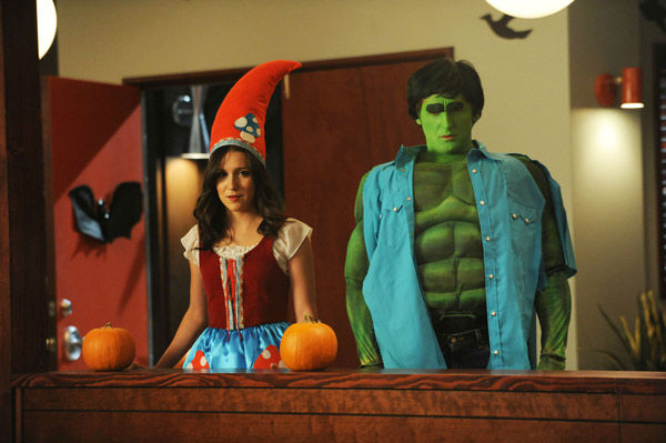 Shannon Woodward and Lucas Neff appear in a still from 'Raising Hope' airing Tuesday, Oct. 30 at 8-8:30 p.m. ET/PT on FOX.