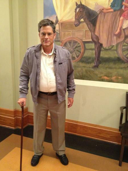 Rob Lowe appears as his 'Parks and Recreation' character Chris Traeger's '