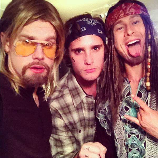 'Glee' star Chord Overstreet, Diego Boneta and a friend appear in a photo posted on Overstreet's official Twitter page on October 28, 2012.