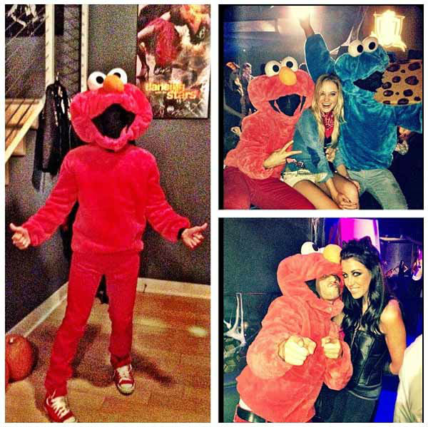 'Dancing With The Stars' pro Mark Ballas appears as Elmo in a photo posted on his official Twitter page on October 29, 2012.