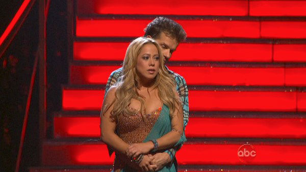 Disney Channel actress Sabrina Bryan and her partner Louis Van Amstel await their fate on &#39;Dancing With The Stars: The Results Show&#39; on October 30, 2012. The two received 30 out of 30 points from the judges for their Rumba on &#39;Dancing With The Stars: All-Stars,&#39; which aired on October 29, 2012. <span class=meta>(ABC Photo)</span>