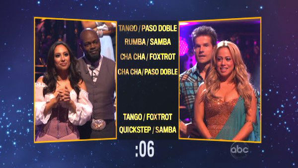 Emmitt Smith and Cheryl Burke picked a Tango &#47; Foxtrot fusion dance for Sabrina Bryan and Louis Van Amstel on &#39;Dancing With The Stars: The Results Show&#39; on October 30, 2012. <span class=meta>(ABC Photo)</span>