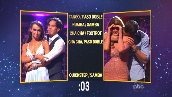 Apolo Anton Ohno and Karina Smirnoff picked a Quickstep &#47; Samba fusion dance for Kirstie Alley and Maksim Chmerkovskiy on &#39;Dancing With The Stars: The Results Show&#39; on October 30, 2012. <span class=meta>(ABC Photo)</span>