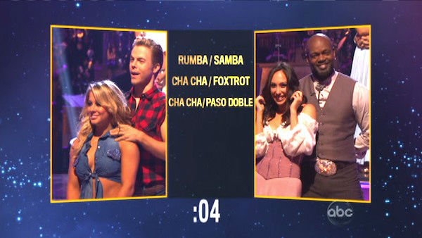 Shawn Johnson and Derek Hough picked a Rumba &#47; Samba fusion dance for Emmitt Smith and Cheryl Burke on &#39;Dancing With The Stars: The Results Show&#39; on October 30, 2012. <span class=meta>(ABC Photo)</span>