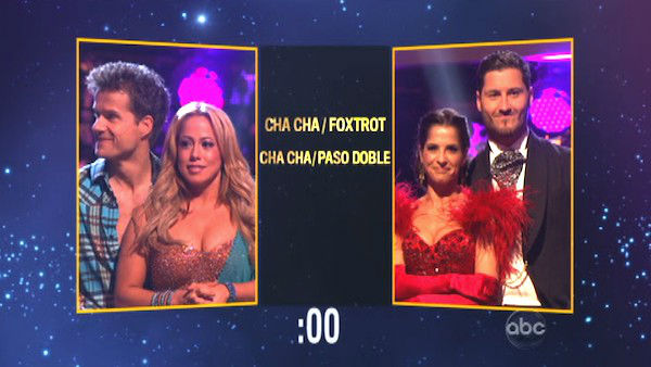 Sabrina Bryan and Louis Van Amstel picked a Cha Cha &#47; Foxtrot fusion dance for Kelly Monaco and Valentin Chmerkovskiy on &#39;Dancing With The Stars: The Results Show&#39; on October 30, 2012. <span class=meta>(ABC Photo)</span>