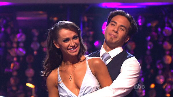Gilles Marini and Peta Murgatroyd picked a Cha Cha / Paso Doble fusion dance for Apolo Anton Ohno and Karina Smirnoff on 'Dancing With The Stars: The Results Show' on October 30, 2012.