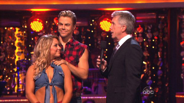 Olympic gymnast Shawn Johnson and her partner Derek Hough await their fate on &#39;Dancing With The Stars: The Results Show&#39; on October 30, 2012. The two received 28 out of 30 points from the judges for their Cha Cha Cha on &#39;Dancing With The Stars: All-Stars,&#39; which aired on October 29, 2012 <span class=meta>(ABC Photo)</span>