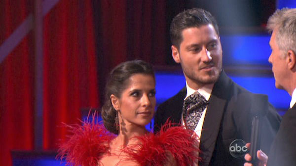 &#39;General Hospital&#39; actress Kelly Monaco and her partner Valentin Chmerkovskiy await their fate on &#39;Dancing With The Stars: The Results Show&#39; on October 30, 2012. The two received 27 out of 30 points from the judges for their Tango on &#39;Dancing With The Stars: All-Stars,&#39; which aired on October 29, 2012. <span class=meta>(ABC Photo)</span>