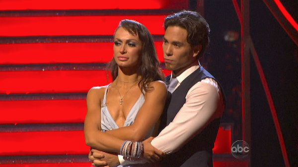 "<div class=""meta ""><span class=""caption-text "">Olympic speed skater Apolo Anton Ohno and his partner Karina Smirnoff await their fate on 'Dancing With The Stars: The Results Show' on October 30, 2012. The two received 30 out of 30 points from the judges for their Viennese Waltz on 'Dancing With The Stars: All-Stars,' which aired on October 29, 2012. (ABC Photo)</span></div>"