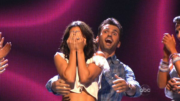 "<div class=""meta ""><span class=""caption-text "">Reality star Melissa Rycroft and her partner Tony Dovolani react to being safe from elimination on 'Dancing With The Stars: The Results Show' on October 30, 2012. The two received 29.5 out of 30 points from the judges for their Viennese Waltz on 'Dancing With The Stars: All-Stars,' which aired on October 29, 2012. (ABC Photo)</span></div>"