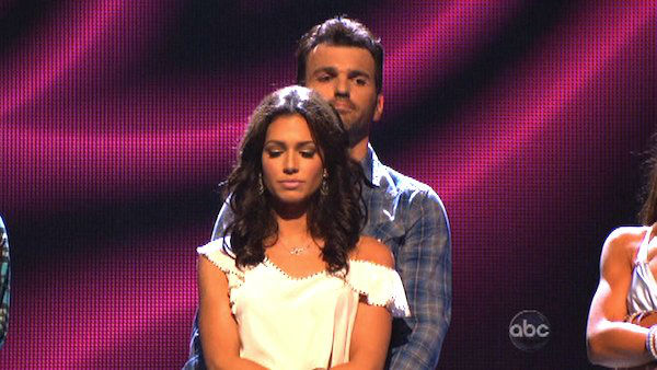Reality star Melissa Rycroft and her partner Tony Dovolani await their fate on &#39;Dancing With The Stars: The Results Show&#39; on October 30, 2012. The two received 29.5 out of 30 points from the judges for their Viennese Waltz on &#39;Dancing With The Stars: All-Stars,&#39; which aired on October 29, 2012. <span class=meta>(ABC Photo)</span>