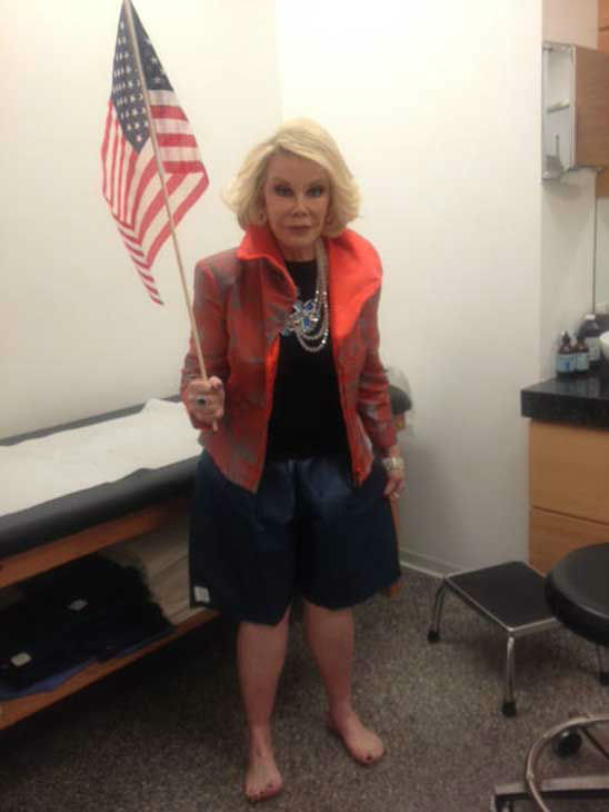 Joan Rivers appears in a Twitter photo posted on November 6, 2012.