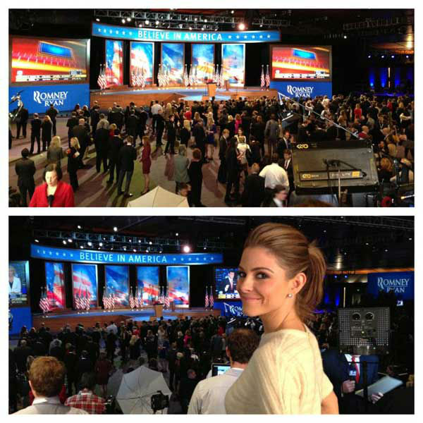 Maria Menounos Tweeted, &#39;Here at Romney headquarters covering election night for @extratv.&#39; <span class=meta>(twitter.com&#47;mariamenounos)</span>