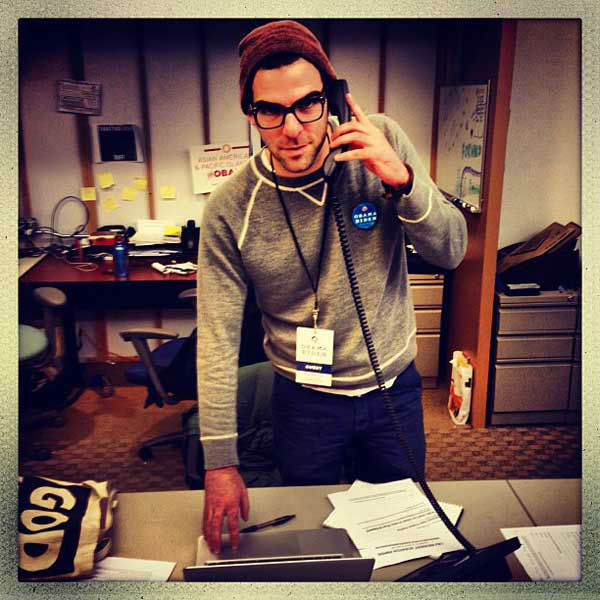 Zachary Quinto Tweeted, &#39;Proud to be manning the voter protection hotline at obama HQ in chi town!!&#39;  <span class=meta>(twitter.com&#47;ZacharyQuinto)</span>