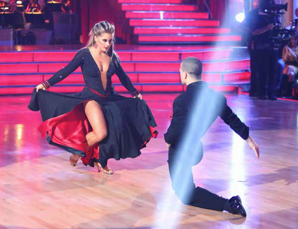 "<div class=""meta ""><span class=""caption-text "">Olympic gymnast Shawn Johnson and her temporary partner, Mark Ballas, received 30 out of 30 points from the judges for their Tango and Paso Doble fusion on 'Dancing With The Stars: All-Stars,' which aired on November 5, 2012. Johnson's original ""All-Stars"" partner, Derek Hough, cheered Johnson on from the sidelines this week following doctor's orders after he sustained an injury. (ABC Photo/ Adam Taylor)</span></div>"