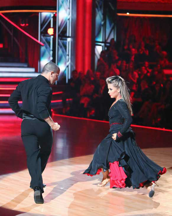 Shawn Johnson and Mark Ballas appear in a still from 'Dancing With The Stars: All-Stars' on November 5, 2012.