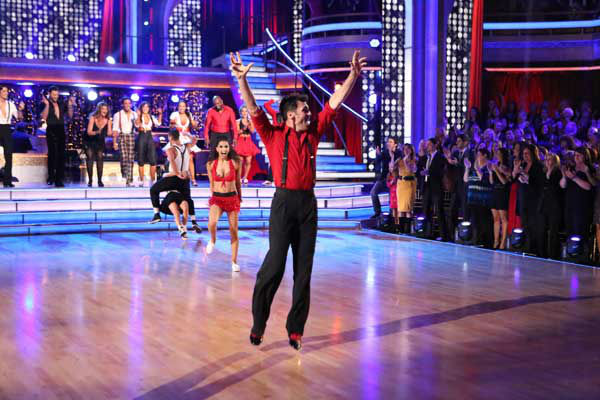 "<div class=""meta ""><span class=""caption-text "">The entire cast of 'Dancing with the Stars: All Stars' appear in a still from their group Swing dance on November 5, 2012. The dance was a marathon dance, and the judges eliminated pairs as the routine progressed. Each pair received points depending on how long they stayed on the dance floor. (ABC Photo/ Adam Taylor)</span></div>"