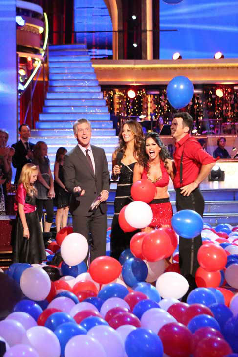 The entire cast of &#39;Dancing with the Stars: All Stars&#39; appear in a still from their group Swing dance on November 5, 2012. The dance was a marathon dance, and the judges eliminated pairs as the routine progressed. Each pair received points depending on how long they stayed on the dance floor. <span class=meta>(ABC Photo&#47; Adam Taylor)</span>