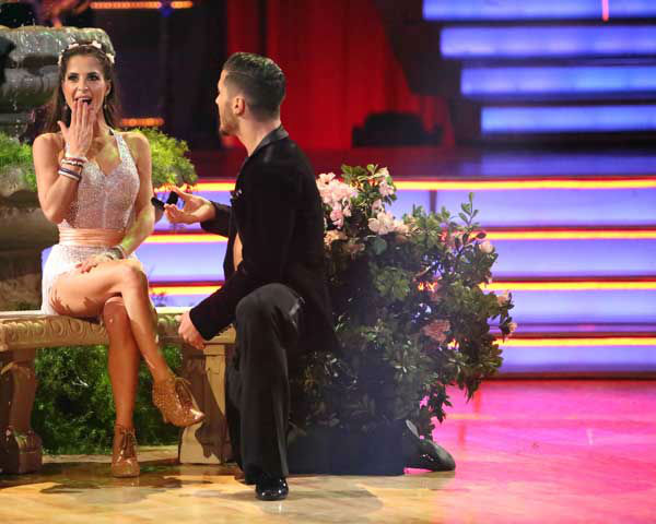 "<div class=""meta ""><span class=""caption-text "">'General Hospital' actress Kelly Monaco and her partner Valentin Chmerkovskiy received 27 out of 30 points from the judges for their Foxtrot and Cha Cha Cha fusion on 'Dancing With The Stars: All-Stars,' which aired on November 5, 2012. (ABC Photo/ Adam Taylor)</span></div>"