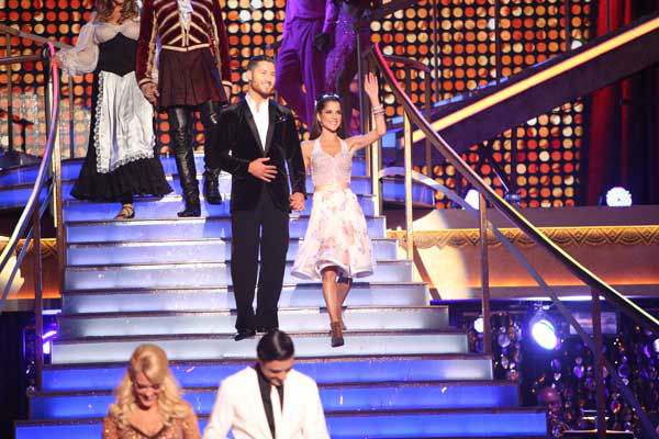 Kelly Monaco and Valentin Chmerkovskiy appear in a still from 'Dancing With The Stars: All-Stars' on November 5, 2012.