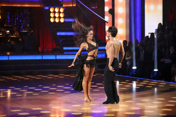 "<div class=""meta ""><span class=""caption-text "">Olympic speed skater Apolo Anton Ohno and his partner Karina Smirnoff received 27 out of 30 points from the judges for their Paso Doble and Cha Cha Cha fusion on 'Dancing With The Stars: All-Stars,' which aired on November 5, 2012. (ABC Photo/ Adam Taylor)</span></div>"