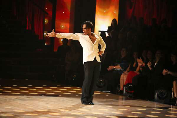 Apolo Anton Ohno and Karina Smirnoff appear in a still from 'Dancing With The Stars: All-Stars' on November 5, 2012.
