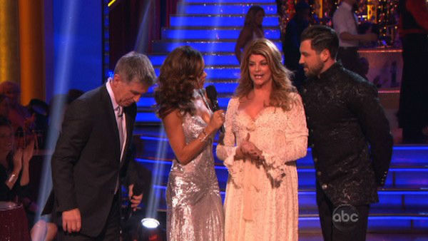 "<div class=""meta image-caption""><div class=""origin-logo origin-image ""><span></span></div><span class=""caption-text"">Actress Kirstie Alley and her partner Maksim Chmerkovskiy react to being eliminated on 'Dancing With The Stars: The Results Show' on November 13, 2012. The pair received 27 out of 30 points from the judges for their Viennese Waltz and a 28 out of 30 points for their Paso Doble on 'Dancing With The Stars: All-Stars,' which aired on November 12, 2012. (ABC Photo)</span></div>"