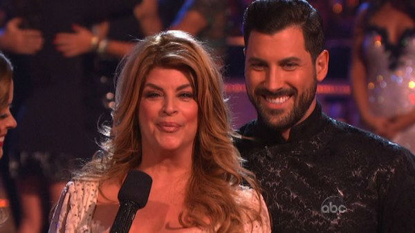 Actress Kirstie Alley and her partner Maksim Chmerkovskiy react to being eliminated on &#39;Dancing With The Stars: The Results Show&#39; on November 13, 2012. The pair received 27 out of 30 points from the judges for their Viennese Waltz and a 28 out of 30 points for their Paso Doble on &#39;Dancing With The Stars: All-Stars,&#39; which aired on November 12, 2012. <span class=meta>(ABC Photo)</span>
