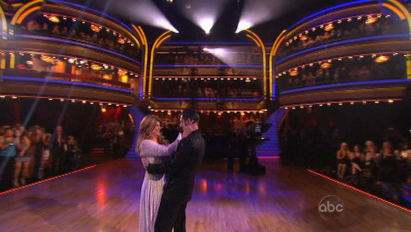 Actress Kirstie Alley and her partner Maksim Chmerkovskiy react to being eliminated on 'Dancing With The Stars: The Results Show' on November 13, 2012.