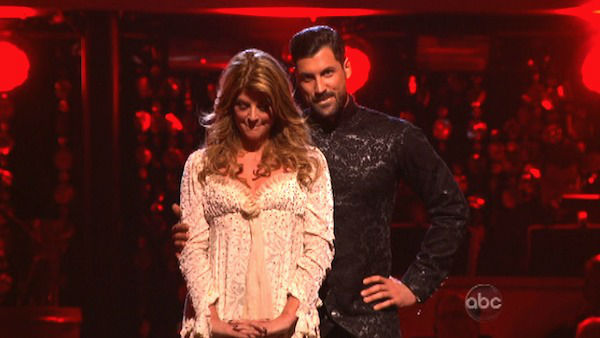 Actress Kirstie Alley and her partner Maksim Chmerkovskiy await their fate on 'Dancing With The Stars: The Results Show' on November 13, 2012.