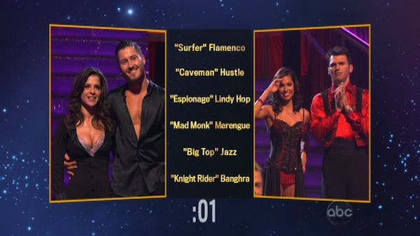 The contestants also had to choose each other&#39;s themes and dance styles for next week.  Kelly Monaco and her Valentin Chmerkovskiy chose the &#39;Cave Man&#39; Hustle for Melissa Rycroft and Tony Dovolani on &#39;Dancing With The Stars: The Results Show&#39; on November 13, 2012. <span class=meta>(ABC Photo)</span>