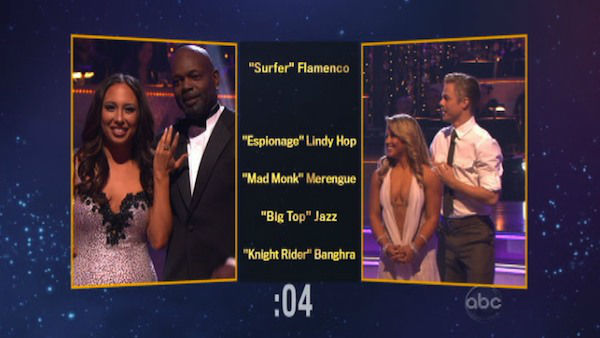 "<div class=""meta ""><span class=""caption-text "">The contestants also had to choose each other's themes and dance styles for next week. Emmitt Smith and Cheryl Burke chose 'Knight Rider' Bhangra for Shawn Johnson and Derek Hough on 'Dancing With The Stars: The Results Show' on November 13, 2012. (ABC Photo)</span></div>"