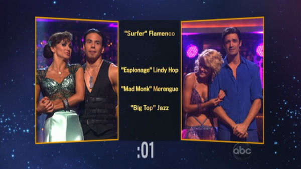 The contestants also had to choose each other&#39;s themes and dance styles for next week. Apolo Anton Ohno and Karina Smirnoff picked &#39;Mad Monk&#39; Merengue for Gilles Marini and Peta Murgatroyd before the couple was eliminated on &#39;Dancing With The Stars: The Results Show&#39; on November 13, 2012.  <span class=meta>(ABC Photo)</span>