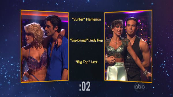 The contestants also had to choose each other&#39;s themes and dance styles for next week. Gilles and Peta chose &#39;Big Top&#39; Jazz for Apolo and Karina on &#39;Dancing With The Stars: The Results Show&#39; on November 13, 2012. <span class=meta>(ABC Photo)</span>