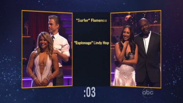 The contestants also had to choose each other&#39;s themes and dance styles for next week. Shawn and Derek chose &#39;Espionage&#39; Lindy Hop for Emmitt and Cheryl on &#39;Dancing With The Stars: The Results Show&#39; on November 13, 2012. <span class=meta>(ABC Photo)</span>