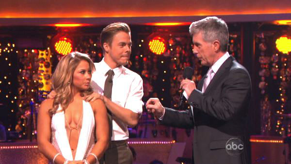 "<div class=""meta ""><span class=""caption-text "">Olympic gymnast Shawn Johnson and her partner Derek Hough await their fate on 'Dancing With The Stars: The Results Show' on November 13, 2012. The pair received 29.5 out of 30 points from the judges for their Viennese Waltz and 26 out of 30 points for their Samba on 'Dancing With The Stars: All-Stars,' which aired on November 12, 2012. (ABC Photo)</span></div>"