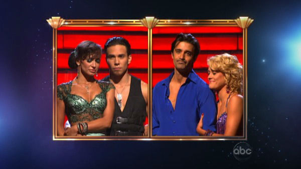 French actor Gilles Marini and his partner Peta Murgatroyd react to being eliminated on 'Dancing With The Stars: The Results Show' on November 13, 2012.