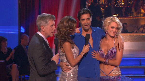 French actor Gilles Marini and his partner Peta Murgatroyd react to being eliminated on &#39;Dancing With The Stars: The Results Show&#39; on November 13, 2012. The pair received 29.5 out of 30 points from the judges for their Quickstep and 29 out of 30 points for their Salsa on &#39;Dancing With The Stars: All-Stars,&#39; which aired on November 12, 2012. <span class=meta>(ABC Photo)</span>