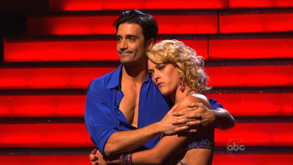French actor Gilles Marini and his partner Peta Murgatroyd await their fate on 'Dancing With The Stars: The Results Show' on November 13, 2012.