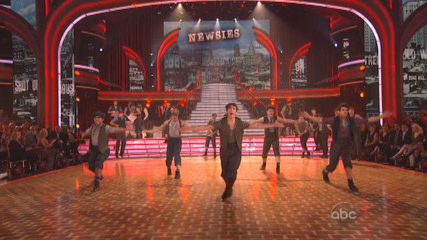 "<div class=""meta ""><span class=""caption-text "">The fourth 'Macy's Stars of Dance' performance of the season featured the cast of the Broadway musical 'Newsies' performing 'Seize the Day' on 'Dancing With The Stars: The Results Show' on November 13, 2012. (ABC Photo)</span></div>"