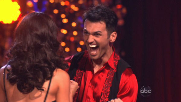 "<div class=""meta ""><span class=""caption-text "">Reality star Melissa Rycroft and her partner Tony Dovolani react to being safe from elimination on 'Dancing With The Stars: The Results Show' on November 13, 2012. The pair received 30 out of 30 points from the judges for their Quickstep and 30 out of 30 points for their Paso Doble on 'Dancing With The Stars: All-Stars,' which aired on November 12, 2012. (ABC Photo)</span></div>"
