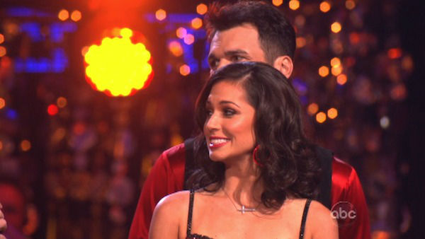 Reality star Melissa Rycroft and her partner Tony Dovolani await their fate on &#39;Dancing With The Stars: The Results Show&#39; on November 13, 2012. The pair received 30 out of 30 points from the judges for their Quickstep and 30 out of 30 points for their Paso Doble on &#39;Dancing With The Stars: All-Stars,&#39; which aired on November 12, 2012. <span class=meta>(ABC Photo)</span>