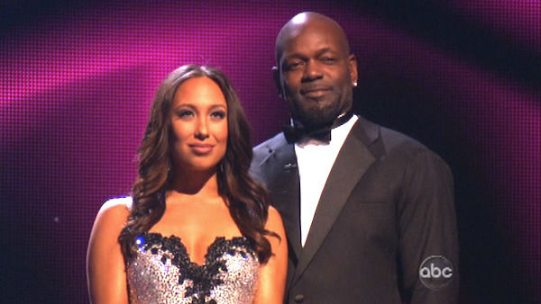 Retired NFL star Emmitt Smith and his partner Cheryl Burke await their fate on 'Dancing With The Stars: The Results Show' on November 13, 2012.