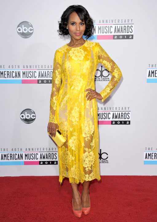Kerry Washington arrives at the 40th Anniversary American Music Awards on Sunday, Nov. 18, 2012, in Los Angeles.