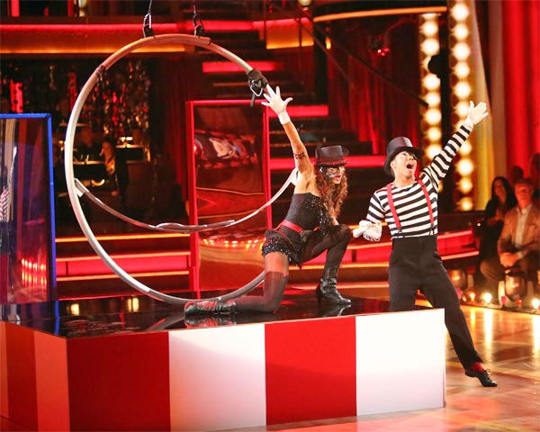 "<div class=""meta ""><span class=""caption-text "">Olympic speed skater Apolo Anton Ohno and his partner Karina Smirnoff received 27 out of 30 points from the judges for their 'Big Top' Jazz on 'Dancing With The Stars: All-Stars' on Monday, Nov. 19, 2012. (ABC Photo/ Adam Taylor)</span></div>"