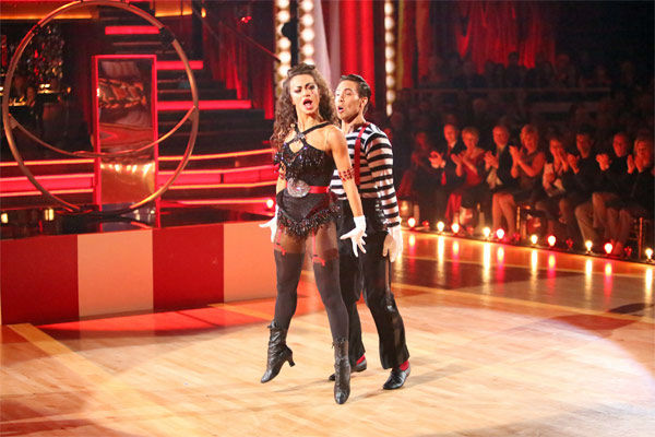 "<div class=""meta ""><span class=""caption-text "">Olympic speed skater Apolo Anton Ohno and his partner Karina Smirnoff received 27 out of 30 points from the judges for their 'Big Top' Jazz on 'Dancing With The Stars: All-Stars' on Monday, Nov. 19, 2012. (ABC Photo / Adam Taylor)</span></div>"